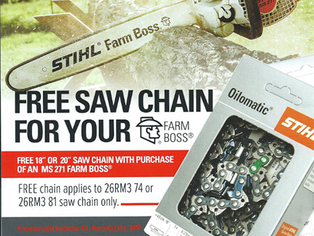 Free saw chain for your Stihl Farm Boss chain saw