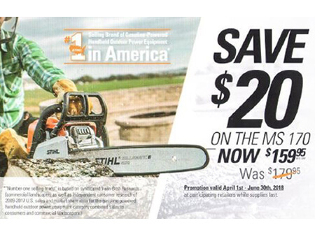Save $20 on the MS170 STIHL chainsaw